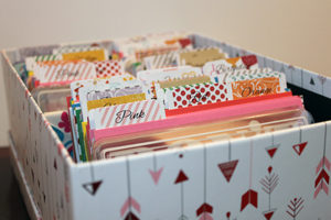 All done! Pocket scrapbooking cards organized by color and theme.